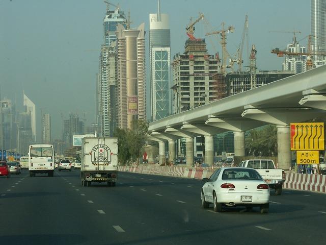 Traffic road dubai, transportation traffic.
