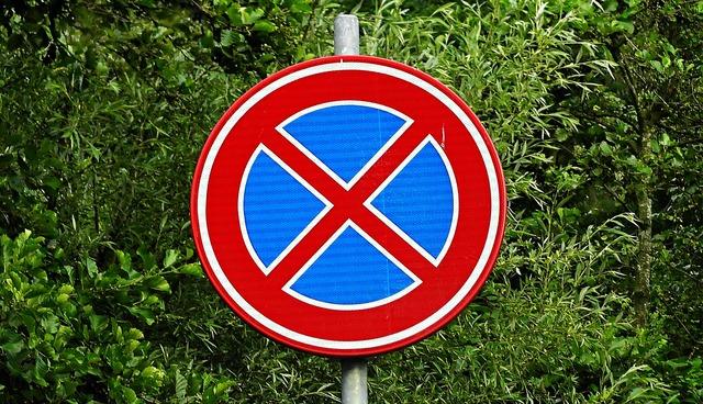 Traffic sign no stopping prohibition, transportation traffic.
