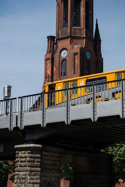 Train bridge berlin city, architecture buildings.