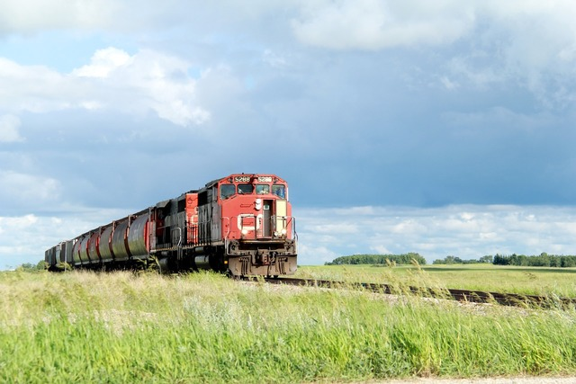 Train cn rail railroad, transportation traffic.