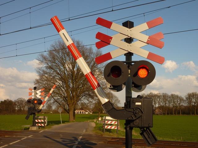 Train railway crossing railway line, transportation traffic.