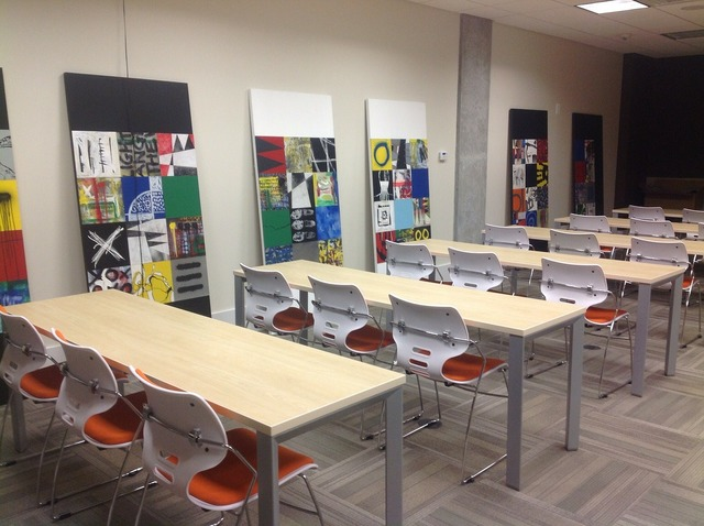 Training room business desk, business finance.