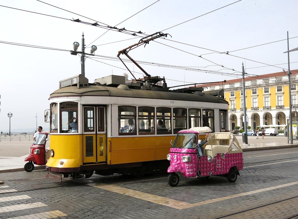 Tram lisbon tuk tuk, transportation traffic.