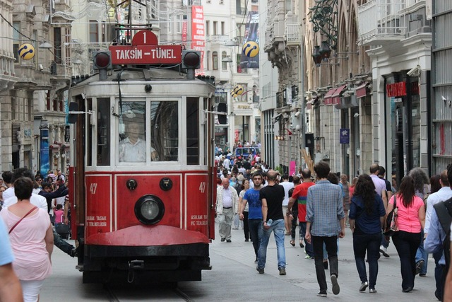 Tram red istanbul, people.