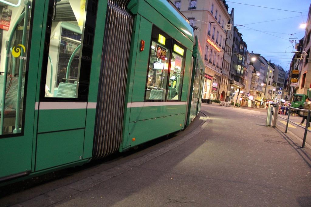 Tram traffic public means of transport, transportation traffic.