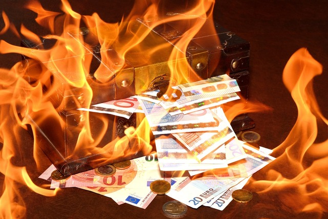 Treasure chest fire flame, business finance.