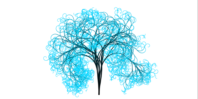 Tree branches light blue.