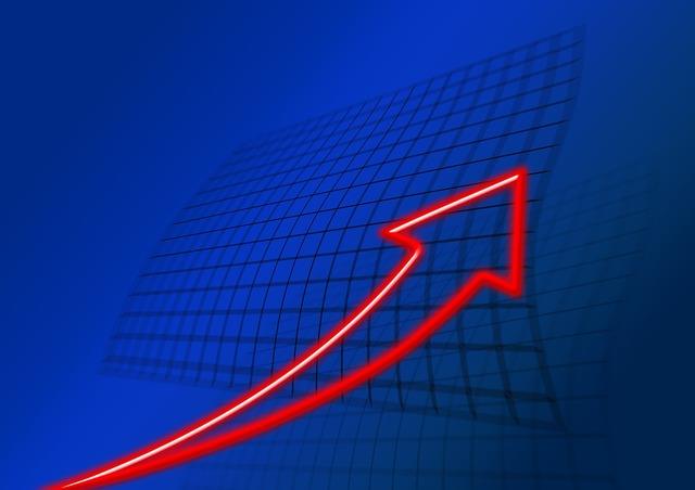 Trend arrow top, business finance.