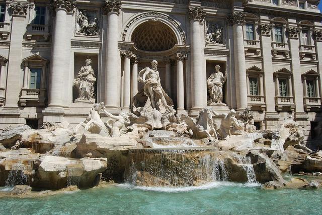 Trevi fountain rome italian.
