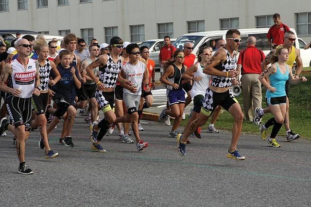 Triathalon race marathon running, people.