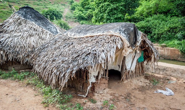 Tribal hut india, architecture buildings.