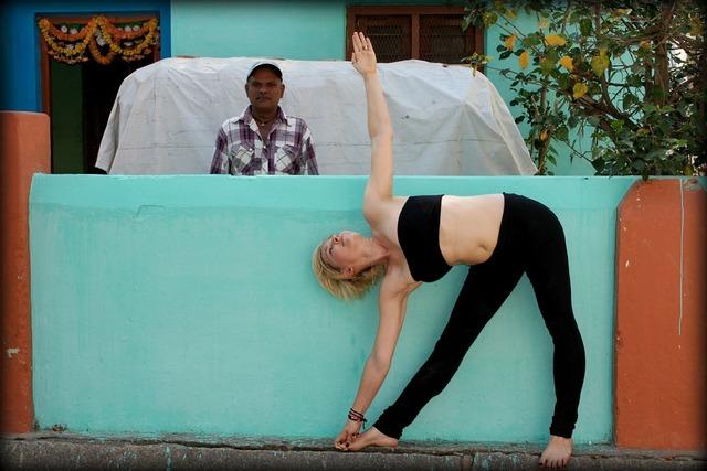 Trikonasana triangle yoga, beauty fashion.