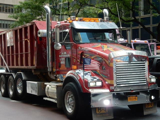 Truck american new york, transportation traffic.