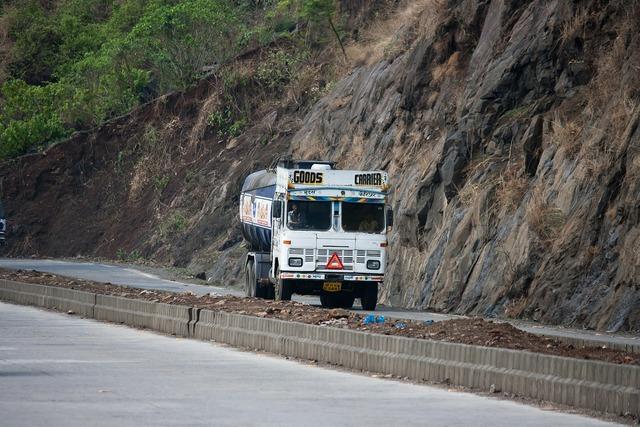 Truck india road, transportation traffic.