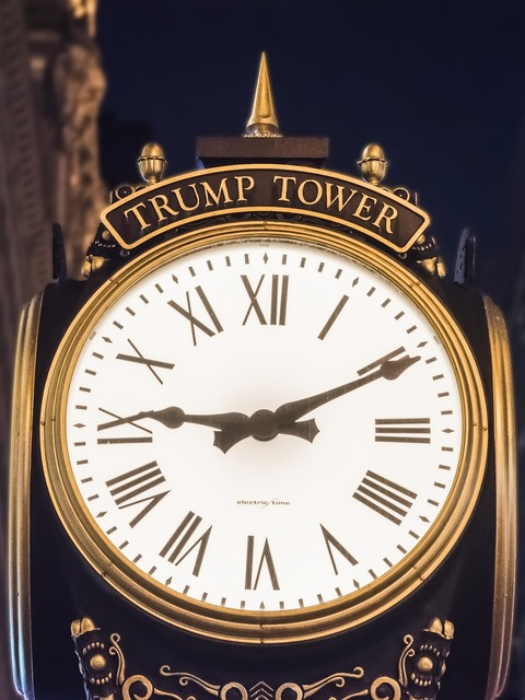 Trump tower clock night.