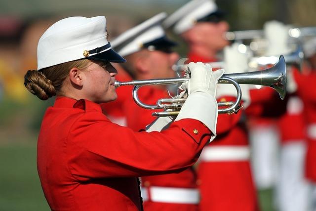Trumpeters marines performance, music.