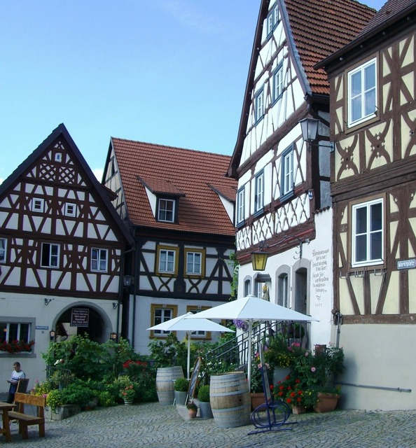 Truss row of houses fachwerkhaus.