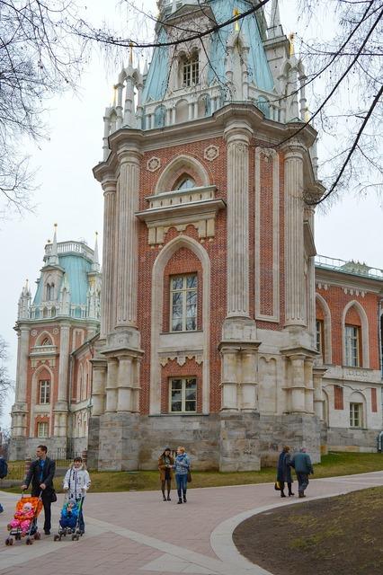 Tsaritsyno catherine palace gothic castle, places monuments.