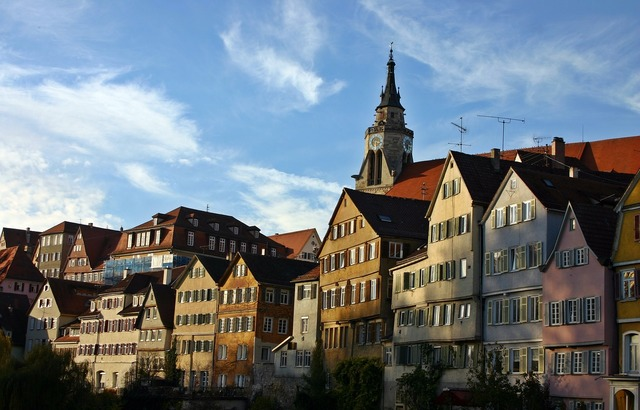 Tübingen neckar front homes, architecture buildings.