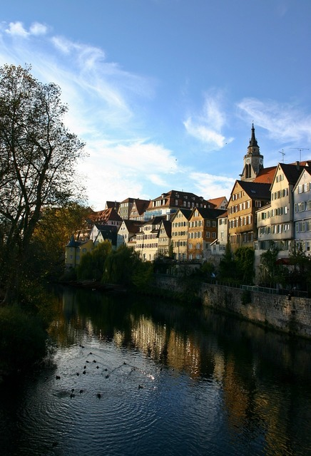 Tübingen old town neckar, architecture buildings.