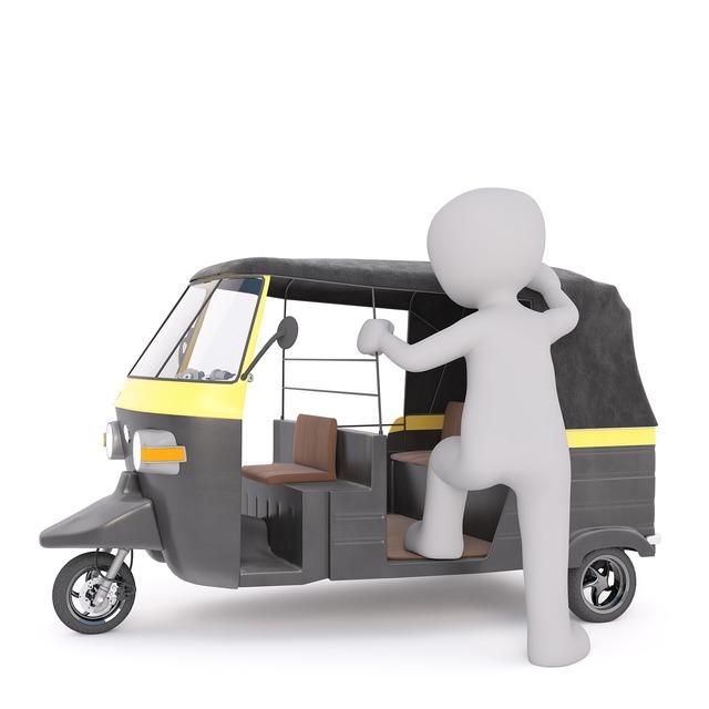 Tuk tuk white male 3d model, transportation traffic.