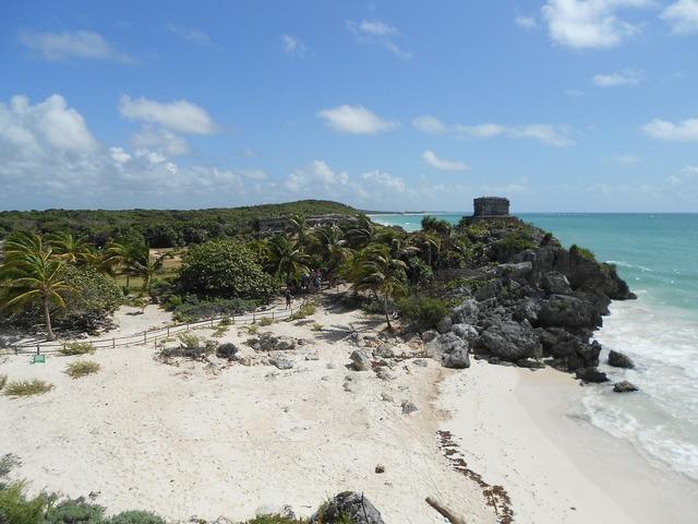 Tulum mexico beach, travel vacation.