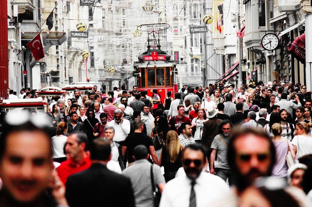 Turkey istanbul crowd, transportation traffic.