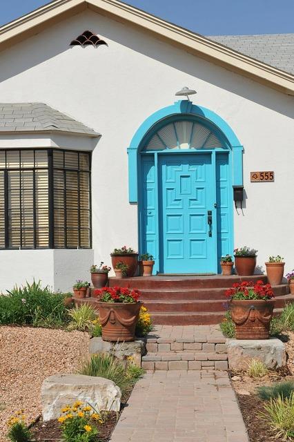 Turquoise color door, architecture buildings.