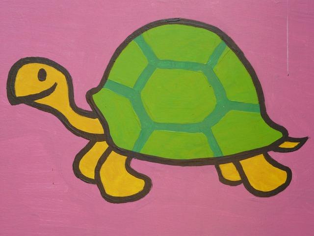Turtle cartoon character drawing, animals.