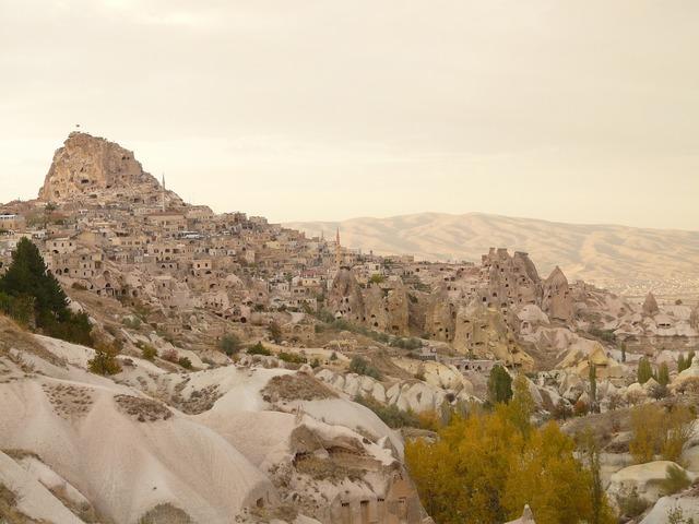 Uchisar mountain rock, nature landscapes.