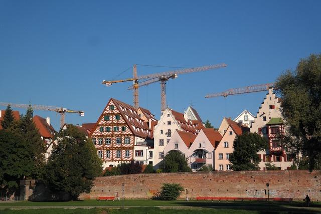 Ulm city view fachwerkhäuser.