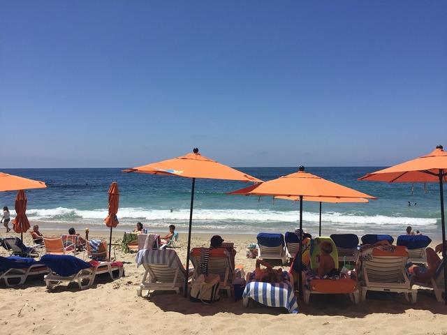 Umbrella beach sun, travel vacation.
