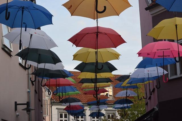 Umbrellas denmark arhus, transportation traffic.