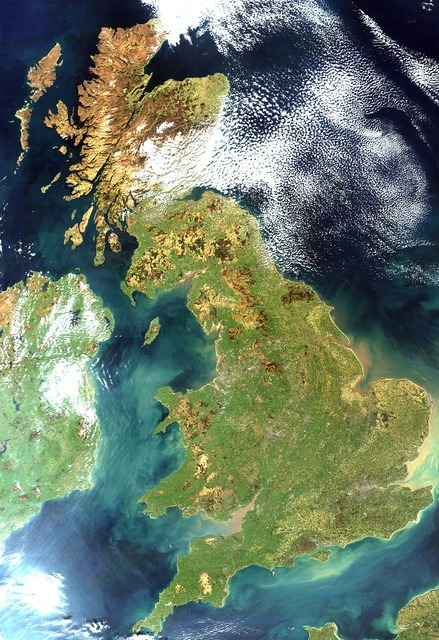 United kingdom england satellite image.