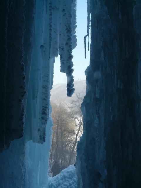 Urach waterfall waterfall ice curtain.