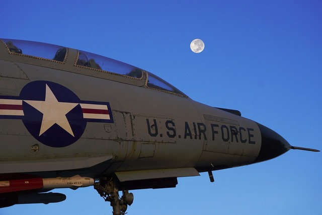 Us air force fighter jet moon.