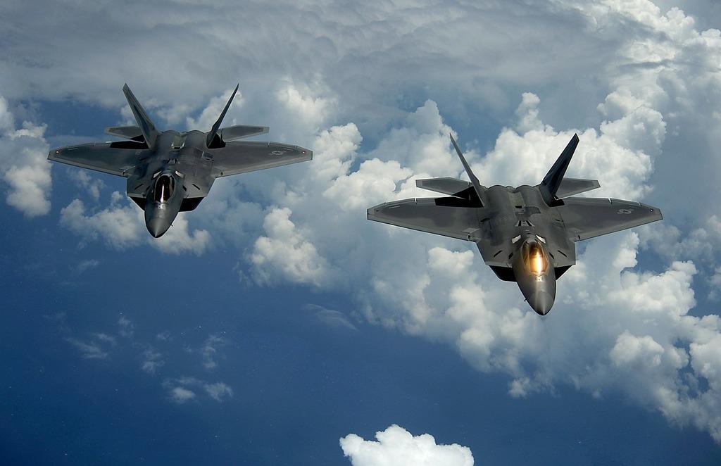 Us air force military f-22 raptor.