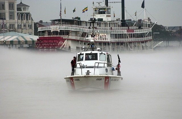 Us coast guard patrol boat fog mississippi river, travel vacation.
