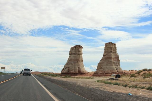 Usa road desert, transportation traffic.