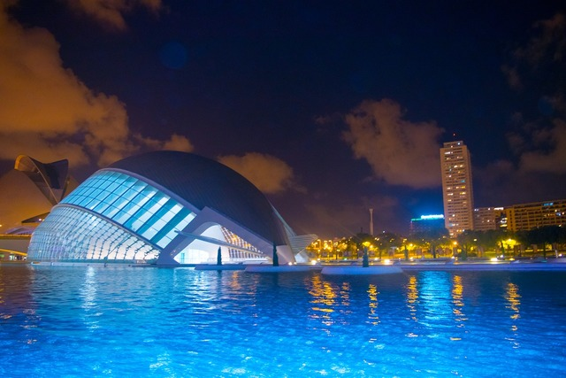 Valencia city of arts and sciences color, architecture buildings.