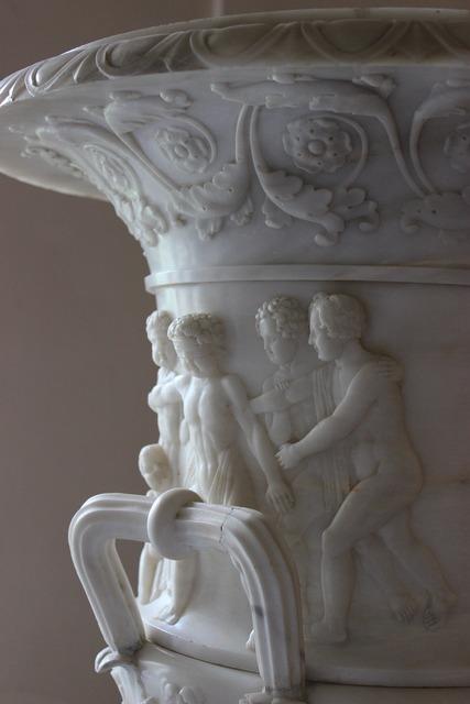Vase marble sculpture, places monuments.