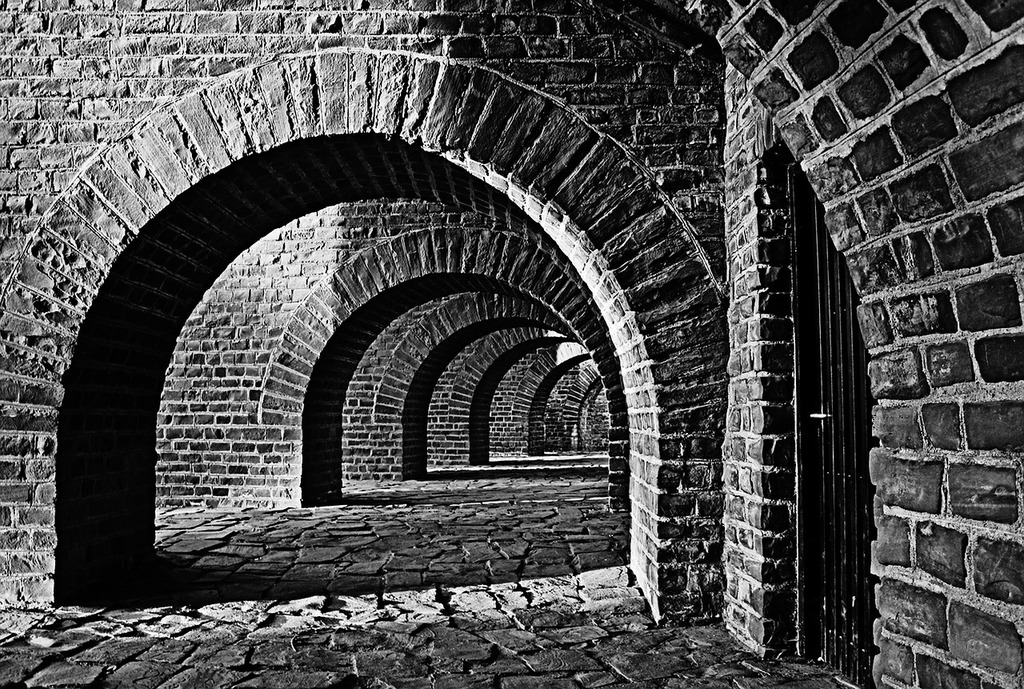 Vaulted cellar tunnel arches.