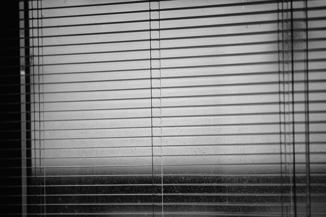 Venetian blinds rainy weather dark time.