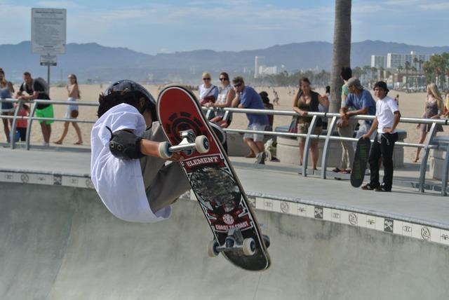 Venice beach skater skateboard.