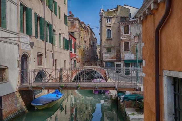 Venice bridges channel, architecture buildings.