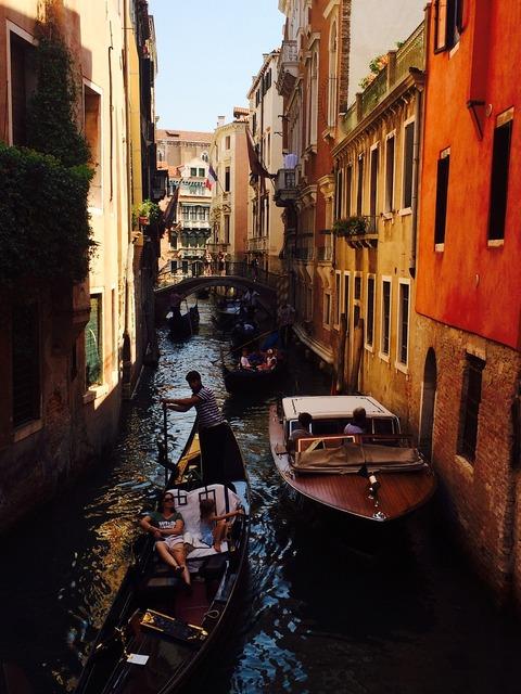 Venice channel gondola, architecture buildings.