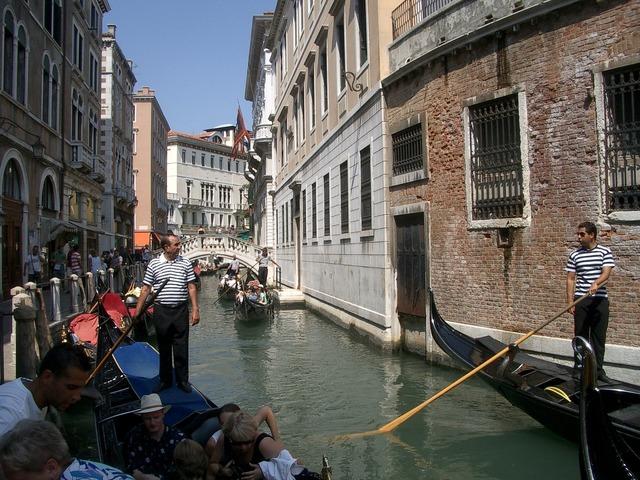 Venice channel gondolas.