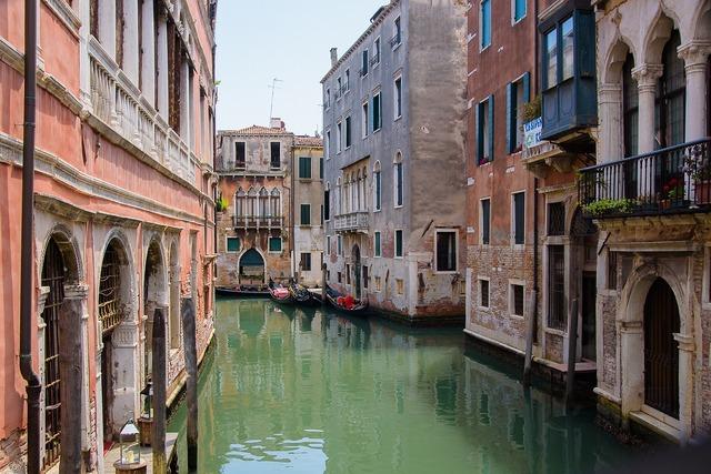Venice channel river, architecture buildings.