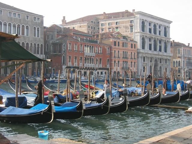 Venice gondolas lagoon.