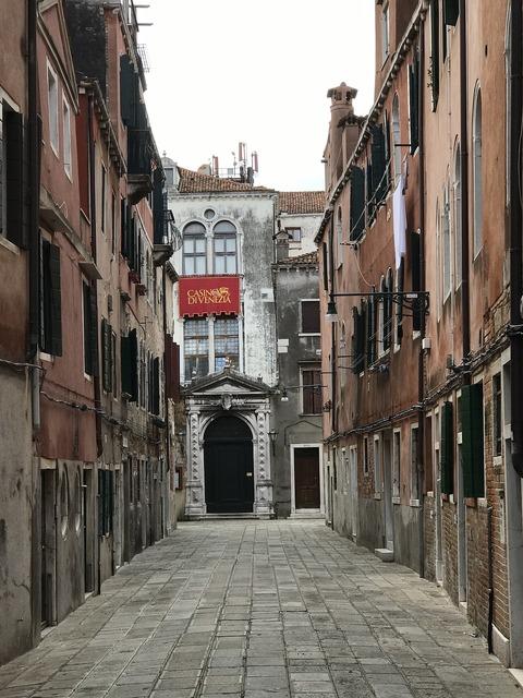 Venice italy channel, transportation traffic.